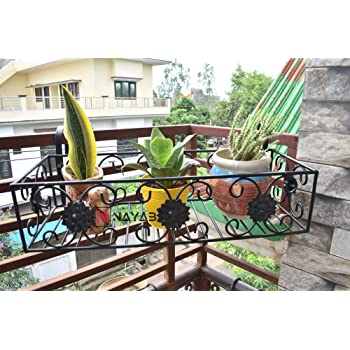 NAYAB Iron Flower Design Hanging Baskets Flower Pot Plant Stand Holder Without Pots for Railing Fence Balcony Garden Home Indoor Outdoor (Tub 1 Pc - 54 x 14 x 20 cm)