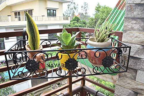 NAYAB Iron Flower Design Hanging Baskets Flower Pot Plant Stand Holder Without Pots for Railing Fence Balcony Garden ...