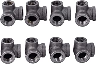 1/2 Inch Side Outlet Elbow Industrial Cast Iron Pipe Fitting 8 Pack by Pipe Decor, Pipe Components For Building Tables, Chairs, Shelving, and Custom Furniture, Fits Half Inch Pipes, Eight Pack