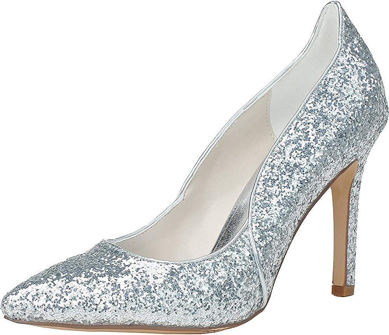 Verescha Womens Elegant High Heels Pointed Toe Flicker Wedding shoes