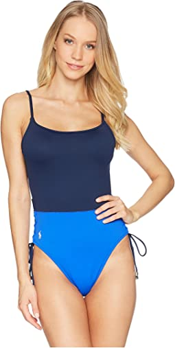 Color Block Sail Solids Side Lace One-Piece