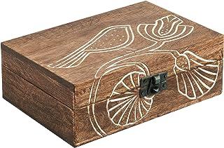 5x7 Wood Jewelry Box Organizer - Handmade Wooden Keepsake Celtic Trinket Box Carved with Bird Design - Treasure Memory Box...