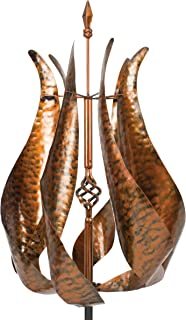 Tulip Shaped Kinetic Wind Spinner - Powder Coated Copper Finish
