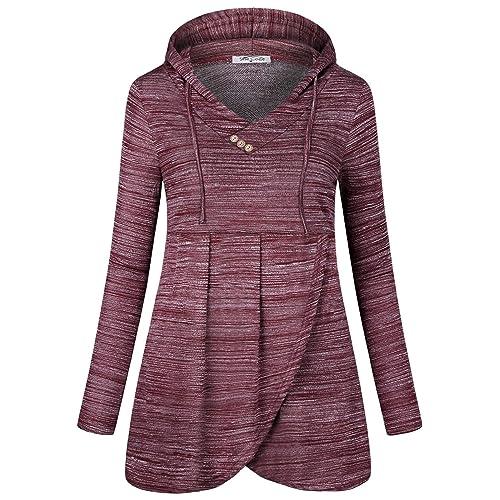 36862d61863 SeSe Code Women Long Sleeve V Neck Hooded Asymmetric Hem Casual Tunic  Sweatshirt