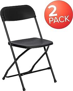 Flash Furniture HERCULES Series Black Plastic Folding Chairs | Set of 2 Lightweight Folding Chairs