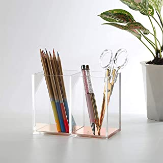 Double Gold Pen Pencil Brush & Markers Holder Compartments or Containers, Transparent Acrylic Storage Cup or Box Organizer...