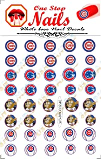 Chicago Cubs Peel and Stick nail decals. Set of 40 nail stickers with White Backgroung. V1