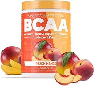 Sparta Nutrition BCAA with Amino9, Full Spectrum EAAs, Caffeine Free, Soy Free, Gluten Free, Peach Mango, 30 Serving