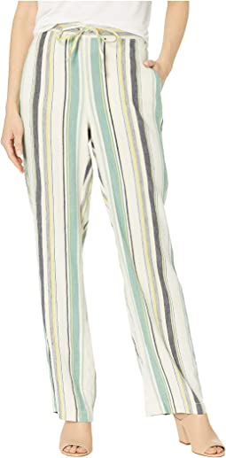 Drawstring Waist Twill Multi Stripe Crop Pants