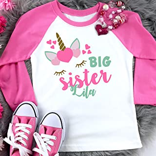 Personalized Unicorn Shirt for Big Sister Pink Raglan Gift Girl