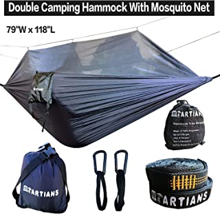 MARTIANS Camping Hammock with Mosquito Net Ultralight Foldable Double Hammock with 28 Loop Tree Straps 118