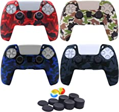 Kono Water Transfer Printing Camouflage Silicone Cover Skin Case for PS5 Dualsense Controller * 4 (Black+White+Blue+Red) w...
