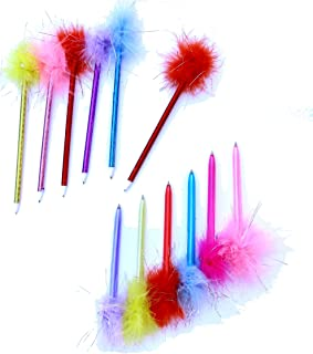 24 Pack Feather Pens | Back to School Assorted Color Marabou Pens | Dazzling Toys