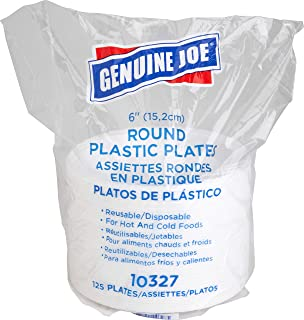 """Genuine Joe GJO10327 6"""" White Plastic Plates, Reusable/Disposable, For Hot or Cold Food, 125 Plates"""