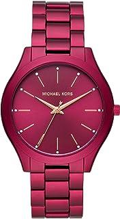 Women's Slim Runway Quartz Watch with Metal Strap, Plum, 20 (Model: MK4505)