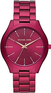 Women's Slim Runway Quartz Watch with Metal Strap, Red, 20 (Model: MK4505)