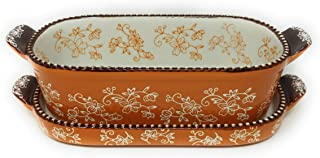 Temp-tations 1 Qt Squoval Baker w/Lid-It (Tray), Small Casserole Dish (Floral Lace Spice)