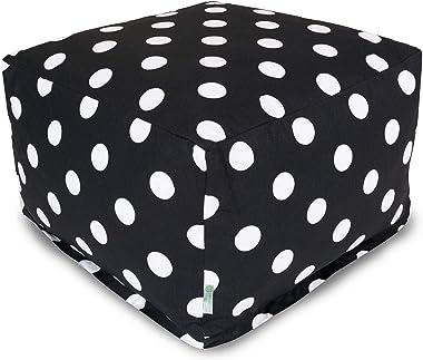 Majestic Home Goods Black Large Polka Dot Ottoman, Large
