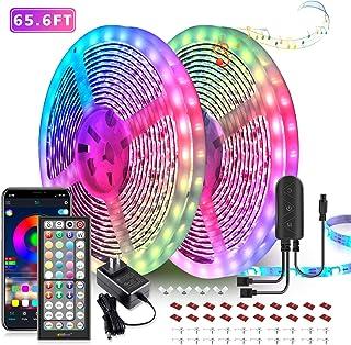 65.6ft LED Strip Lights, Ultra-Long LED Lights Strip Music Sync, App Control with Remote, 600LEDs RGB LED Lights for Bedro...