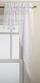 LORRAINE HOME FASHIONS Priscilla 60-inch x 38-inch Swag Pair, White