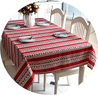 Be fearless Christmas Tablecloth for Table Decor Snowflake Polyester-Cotton Xmas Tree Red Deer Table Cloth Rectangular Microwave Oven Cover,Red,6060cm