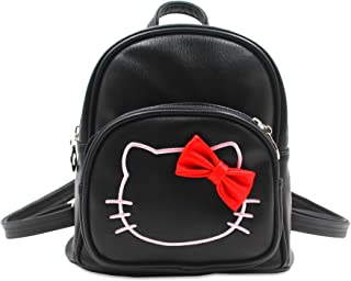 PU Leather BLACK Hello Kitty Backpack with front zippered pocket and adjustable strap
