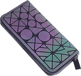 Geometrische Lange Brieftasche und Geldbörse - Mode Leuchtend Gitter Postleitzahl Geldbörse Brieftaschen für Damen NO.4