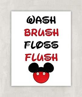Mickey Mouse Theme Bathroom Print - Wash Brush Floss Flush 8x10