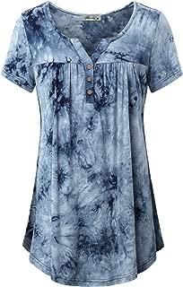 Finice Women's Notch Neck Short Sleeve Tie-dye Tunic Shirt