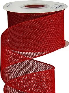 Ribbli Red Burlap Wired Ribbon,2-1/2 Inch x 10 Yard,Cross Royal Burlap Wired Edge Ribbon for Big Bow,Wreath,Tree Decoratio...