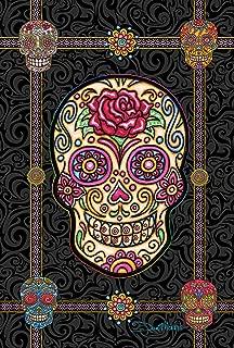 Toland Home Garden Sugar Skulls 12.5 x 18 Inch Decorative Colorful Halloween Skull Garden Flag