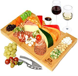 Unique Bamboo Cheese Board, Charcuterie Platter & Serving Tray for Wine, Crackers, Brie and Meat. Large & Thick Wooden Ser...
