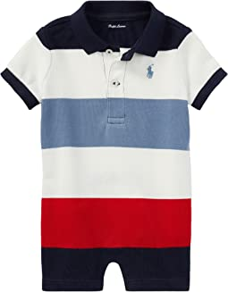 Ralph Lauren Baby - Striped Cotton Polo Shortalls (Infant)