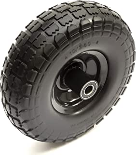 10 Inch 4.10/3.50-4 PU Puncture Proof Solid Tyre & Offset Metal Wheel Garden Trolley Cart