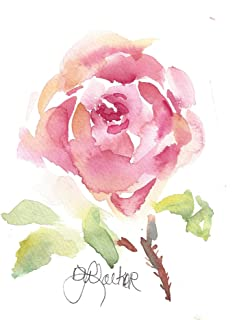 Rose Garden Blank Note Cards: 6 Blank Artistic Summer Floral All Occasion Watercolor Cards, With Envelopes - English Rose