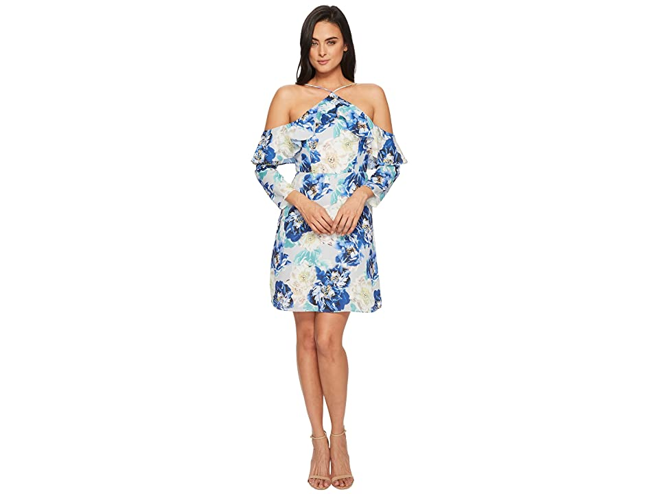 CeCe Iris Off the Shoulder Ruffle Floral Dress (Waterfall) Women