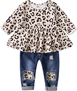 شلوار جین شلوار جین شلوار جین شلوار جین مدل 2PCS Ruffle Floral Floral Top Ripped Girls Girls Set 6M-4T
