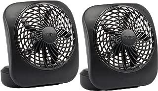O2COOL Treva 5-Inch Portable Desktop Air Circulation Battery Fan - 2 Cooling Speeds - Compact Folding & Tilt Design, 2 Units, Black