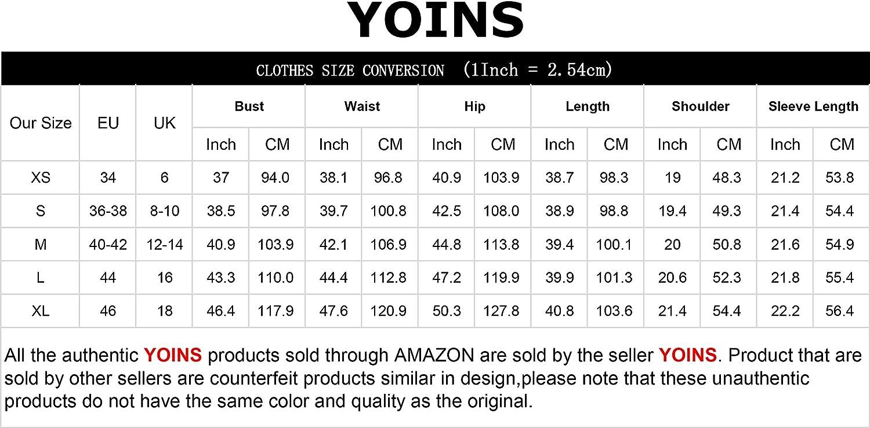 YOINS Mujer Vestido Camisero Vestido con Cuello En V Camisa Manga Larga con Botones Moda Vestido Casual Camisa Vestido T/única