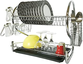 Tatkraft Helga 2-Tier Dish Drying Rack, Drainer with Drainboard for Kitchen Counter, Mug and Utensil Holder, Chrome-Plated, Easy Assembly