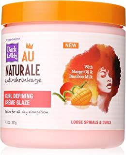 Softsheen-Carson Dark and Lovely Au Naturale Anti-Shrinkage Curly Hair Products, Curl Defining Crème Glaze, Mango Oil and Bamboo Milk, Defines Loose Spirals and Curls, Paraben Free, 14.4 oz