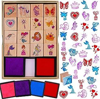 HOWAF 16 Bois Tampons pour Enfants Filles Artisanat avec 4 Encreur, Licorne Sirène Princesse Cœur Arc-en-Ciel Papillon Tam...
