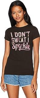 Chin-Up Women's Don't Sweat Sparkle Flower Crew Neck Graphic T-Shirt