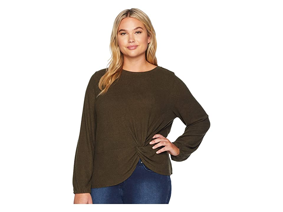 B Collection by Bobeau Plus Size Sierra Side Knot Tee (Military Olive) Women