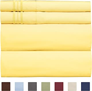 Queen Size Sheet Set - 4 Piece Set - Hotel Luxury Bed Sheets - Extra Soft - Deep Pockets - Easy Fit - Breathable & Cooling - Wrinkle Free - Comfy – Yellow Bed Sheets - Queens Sheets – 4 PC