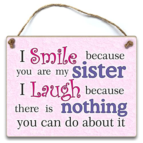 HmHome I Smile Because You Are My Sister Hanging Plaque Gift Birthday Christmas