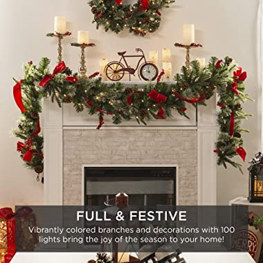 Best Choice Products 9ft Pre-Lit Christmas Garland, Battery Powered Accent Decoration for Fireplace, Mantel, Doorway w/ 100 L