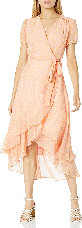Betsey 感謝価格 Johnson Women's Neon Print 休日 Leopard Wrap Dress