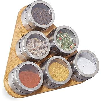 Aourrmmer Especiero Magn/ética Tarros con montado en la Pared del Estante de Acero Inoxidable de Especias latas de Especias condimento Especia contenedores con Etiqueta Color : Rack for 3x4 pcs