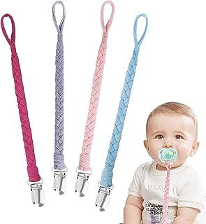 Cadenas para Chupetes Trenzado Hecho a Mano Clips De Chupete para Bebé Infante Niños y Niñas 4 Piezas #6